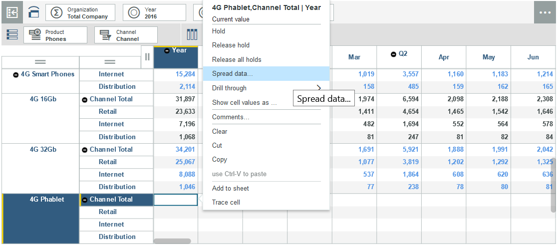 Screen shot showing the Spread data option.