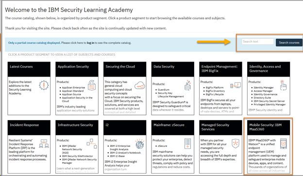 A variety of MaaS360 training resources are availables of the IBM Security Learning Academy