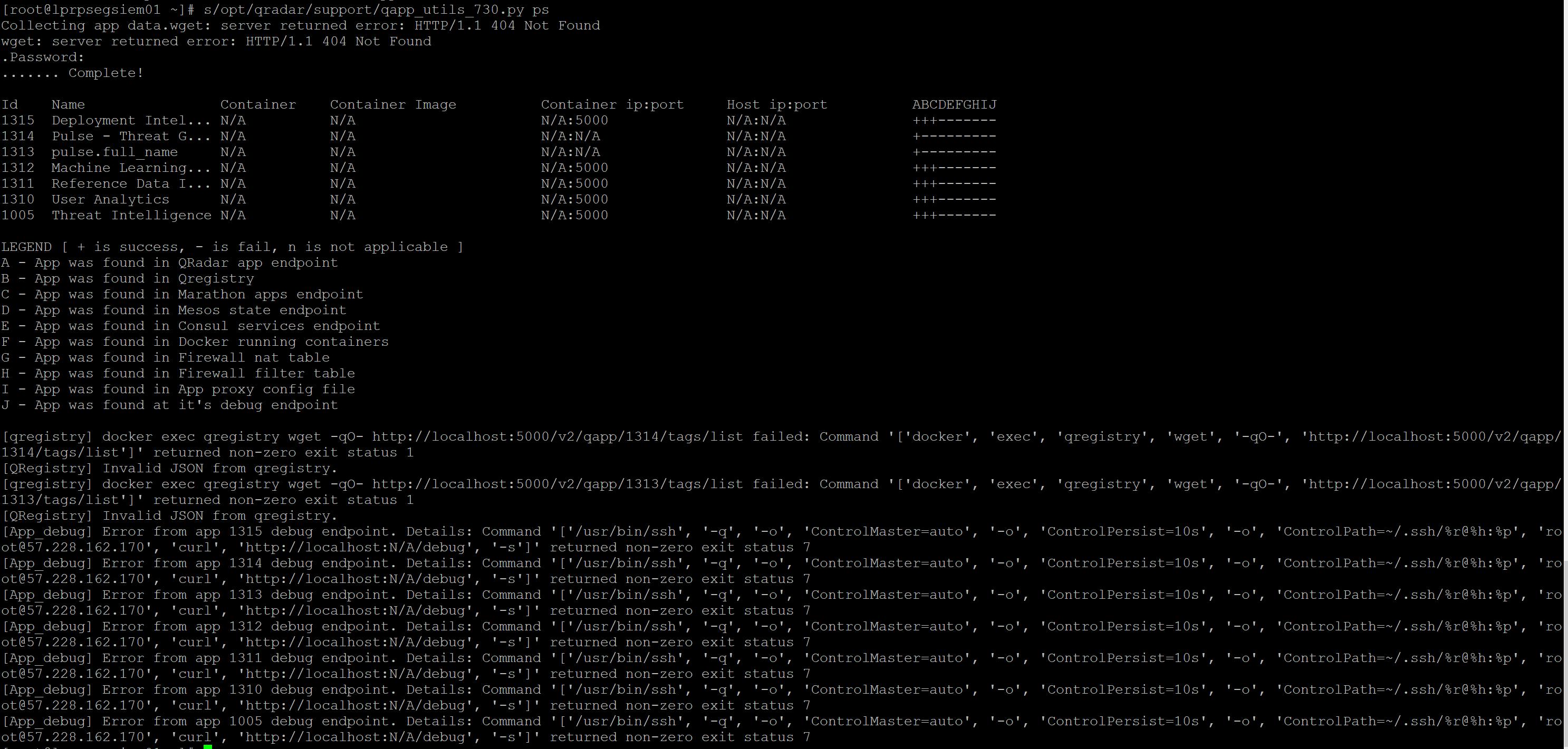 QRadar AppNode / Apps not showing - starting on the GUI   QRadar