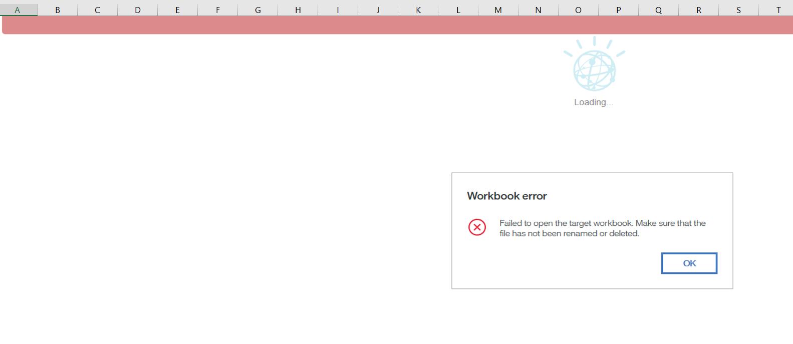 error in workbook
