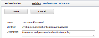 A screenshot of the ISAM LMI showing a policyId