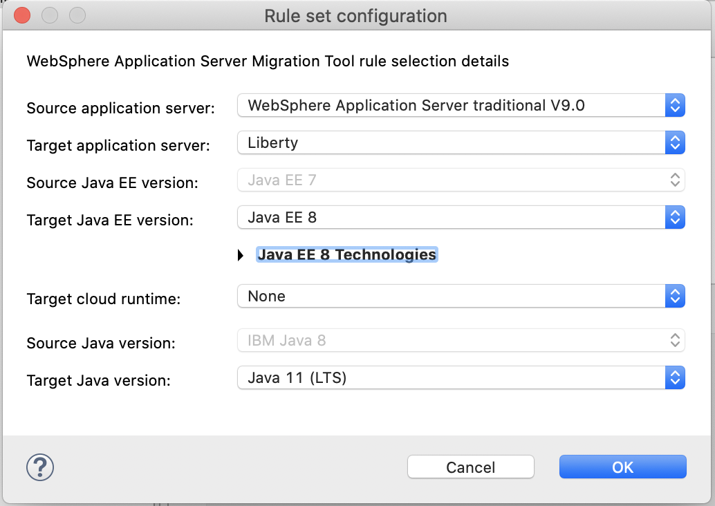 Image of rule drop downs for a WebSphere traditional v9 application migrating to Liberty using Java 11.