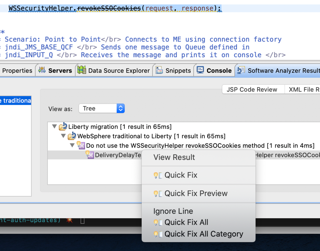 Image showing the dialog to select a quick fix or quick fix preview.
