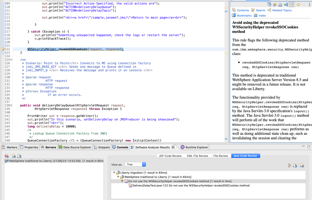 """Image of source code with the """"Do not use the WSSecurityHelper.revokeSSOCookies method"""" migration rule flagged."""