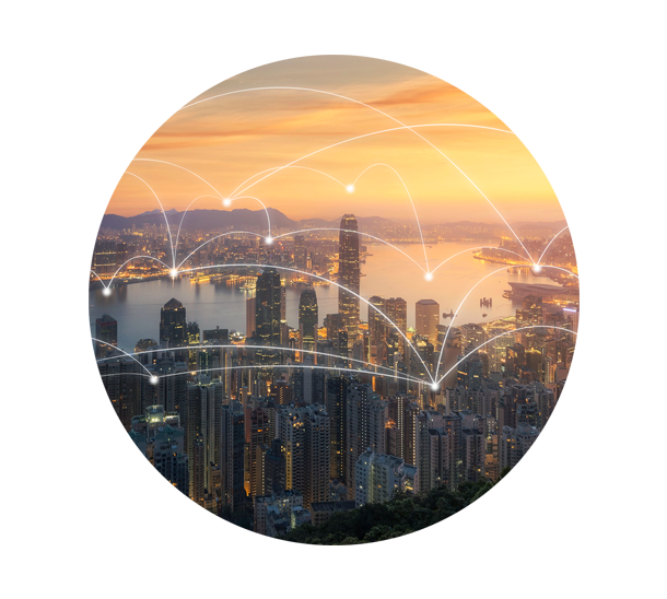 Ciudad con redes interconectadas
