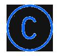 Letra C, en un círculo azul