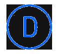 Letra D, en un círculo azul