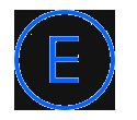 Letra E, en un círculo azul
