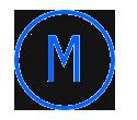 Letra M, en un círculo azul